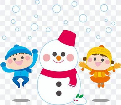 ジャンプする男の子女の子 雪