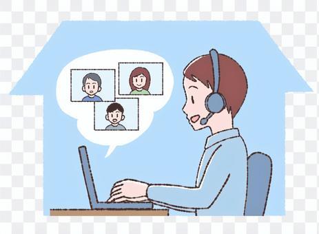 男人在家裡網上開會