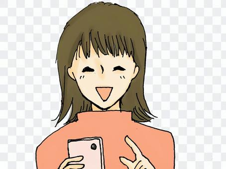 Women who touch smartphone