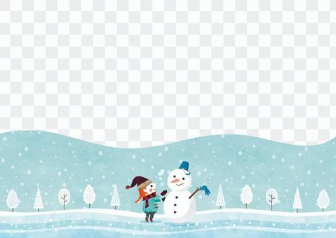 Winter background frame 040 snowman watercolor