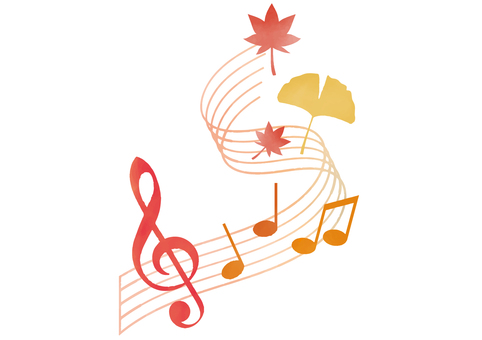 Musical notes and autumn cut illustrations
