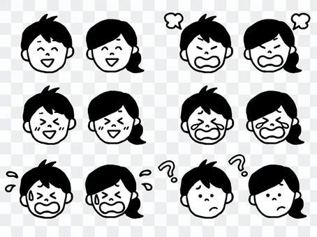 男/女面部表情(簡單)套裝