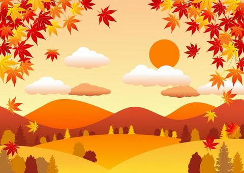 秋の里山背景ヨコ