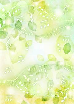 Watercolor-style leaves and musical notes glitter background vertical