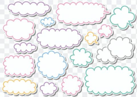 手書き雲と吹き出し素材セット02