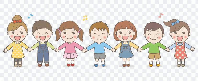 孩子們手拉手唱歌