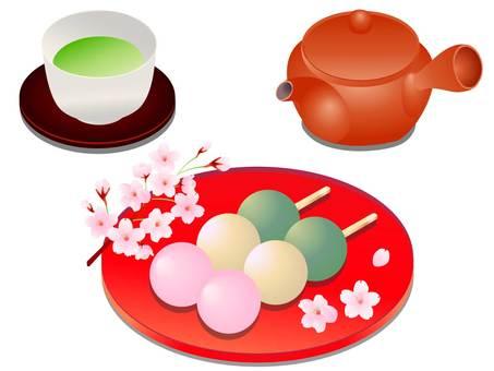 櫻花、兩個三色餃子、茶和九州的插圖
