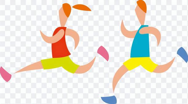 慢跑,跑步,男人和女人