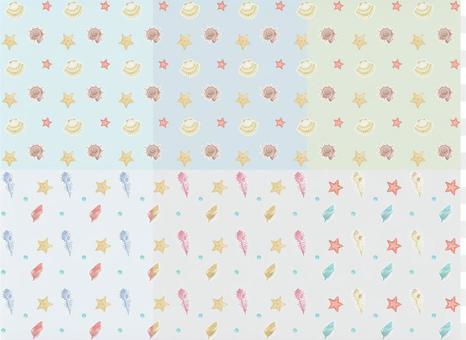 貝類海星壁紙水彩風格