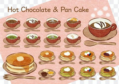 Hot chocolate and pancakes