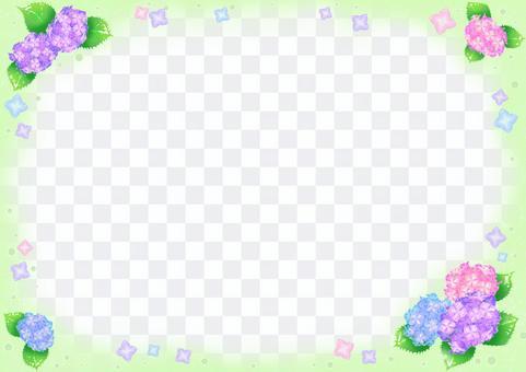 Flower illustration-hydrangea green frame