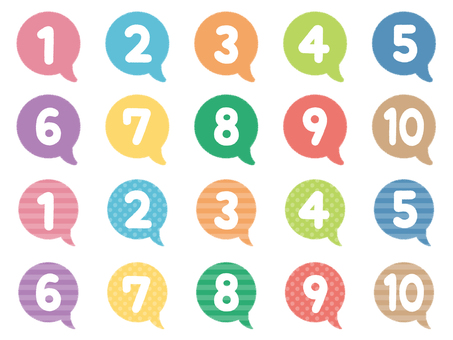 Number set with crayon-style speech bubble