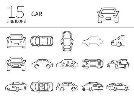 從各個角度看到的汽車圖標