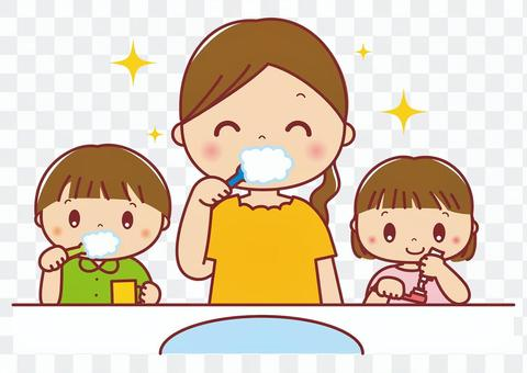 歯磨きする親子 イラスト