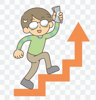 戴著眼鏡爬樓梯的男子收入上升