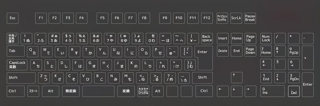 Desktop computer keyboard figure black