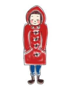 Girl in a red duffle coat