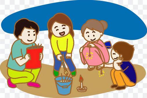 家庭彩色插圖欣賞手持煙花