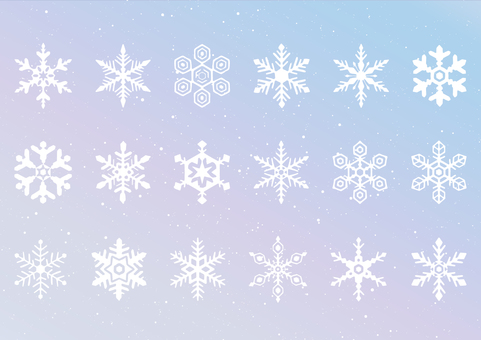 Aurora-like background and handwritten crystal set
