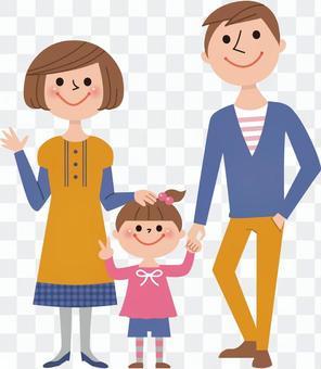 三个人(爸爸,妈妈,女孩)