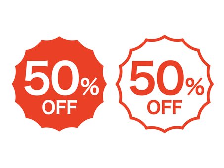 50% 折扣標記集:鋸齒狀:紅色