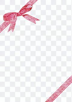 紅色檢查絲帶水彩繪畫·對角線垂直