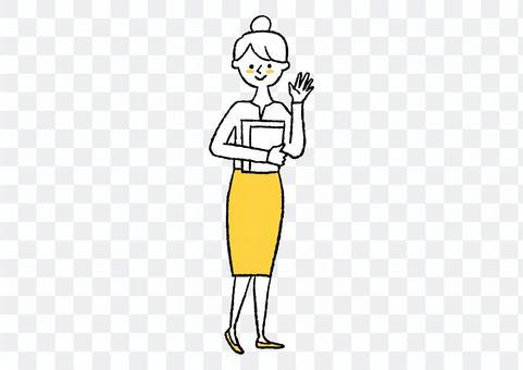 揮舞著上班的女人