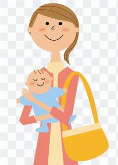 媽媽抱著一個嬰兒_上半身