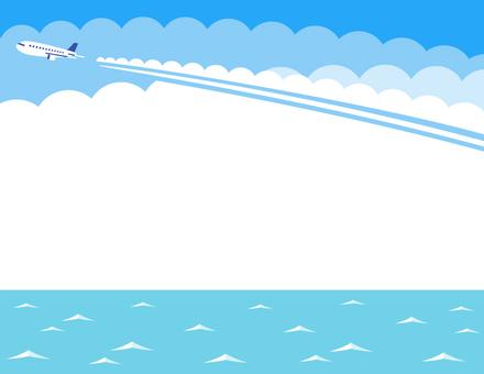 飛行雲和海框架(淺藍色)
