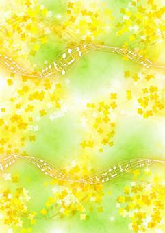 水彩風菜の花と五線譜の背景