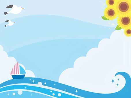 夏の海の風景イラスト(2)