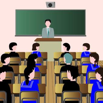 教室 学校 授業 黒板 机 学生 先生