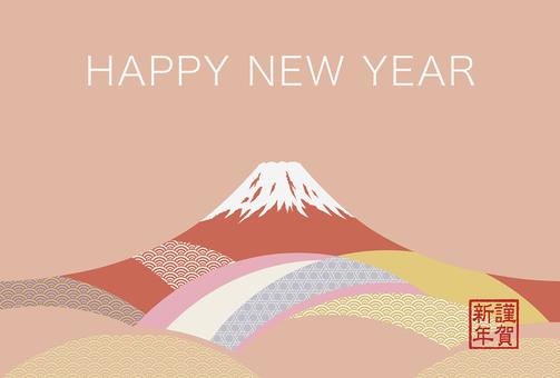 Grayish Mt. Fuji New Year's card template
