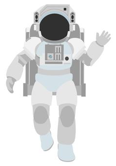 宇航員下降打招呼