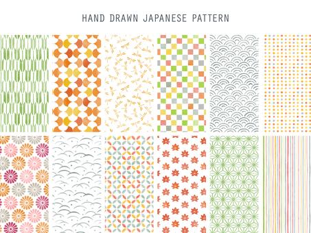 水彩風格手繪日本圖案套裝(秋季)