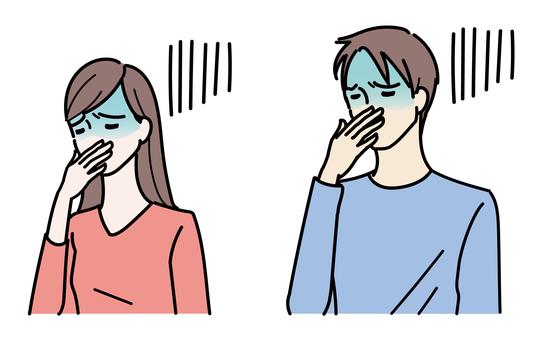 感覺不舒服的女人和男人