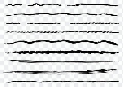 手描きの毛筆ライン素材セット2【波線他】