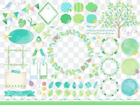 鮮綠色/水彩風格框架標題氣球套