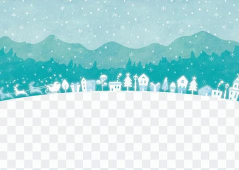 冬の背景フレーム099 Xmas 幻想的