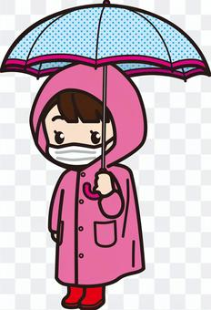 小學女孩1_雨傘和雨衣(面罩)