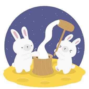 Rabbit making rice cake on the moon