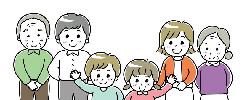 Family illustration three generations 02