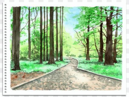 模擬水彩山水畫自然公園長廊