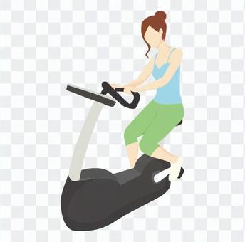 飲食 - 女子騎固定自行車(藍色)
