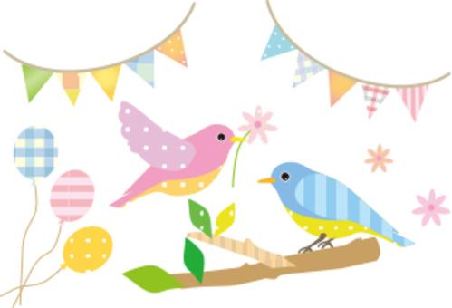 鳥和旗幟和氣球