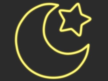 黃色霓虹新月和星星