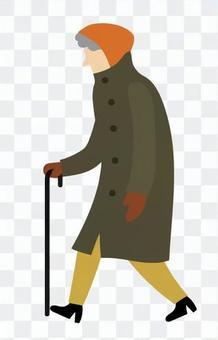 一個人with著拐杖走路
