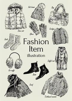 冬季時尚物品的插圖