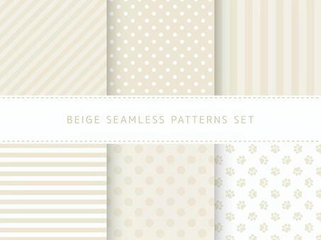 Beige seamless pattern set
