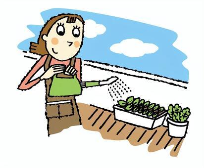 A woman who plays a family garden